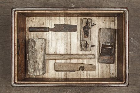 Antique carpenter tool in box set  Still life  photo