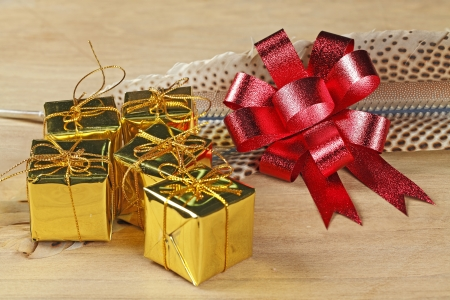 Golden box with red ribbon on feather photo