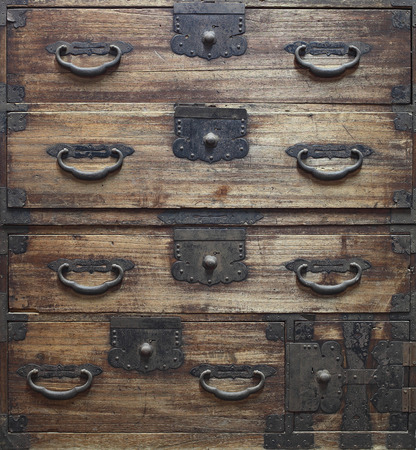 Antique wooden drawers background photo