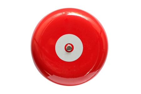 sprinkler alarm: Red fire alarm isolated on white background