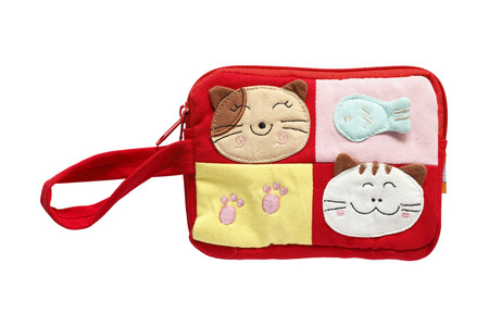 Pocket bag cute cat on red farbic photo