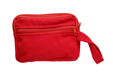 haversack: Red pocket bag isolated on white background