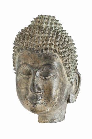Maschera in bronzo di Buddha isolato su sfondo bianco