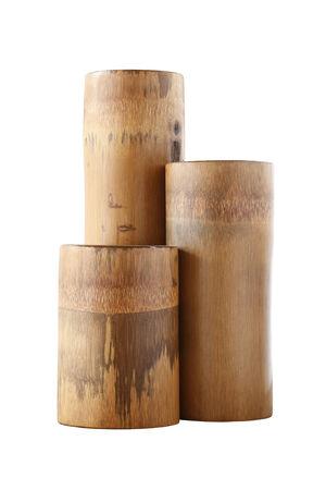 Triple dry bamboo segment isolated on white  photo