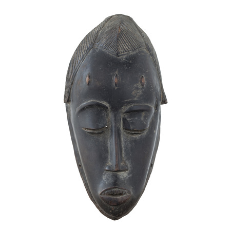 Antique wooden mask isolated on white background Stock Photo
