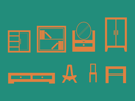Furniture design set Vector