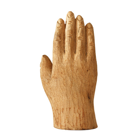 Wooden hand isolated on white background photo