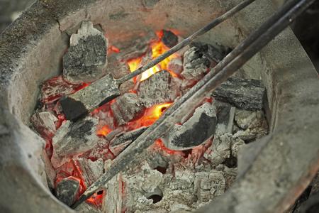 Burning iron in stove photo