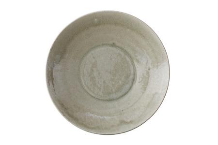 Antique green ceramic dish Stock Photo