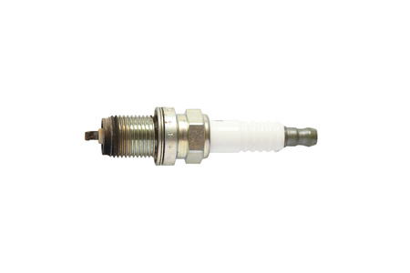 Used spark plug isolated on white background photo