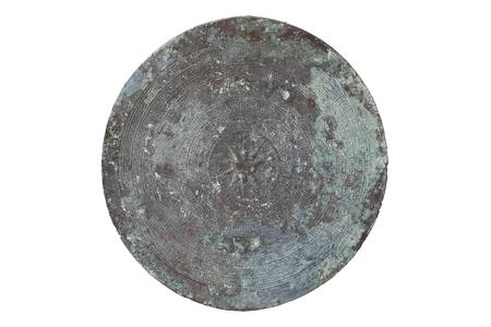 Antique bronze drum isolated on white background photo