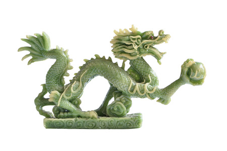 Jade dragon isolated on white background Stok Fotoğraf
