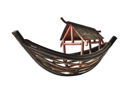 Antique barca piccolo bosco isolato su sfondo bianco Archivio Fotografico
