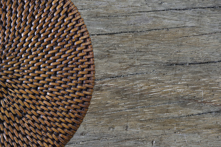 antique table: Half lid basket on antique table (Top view)