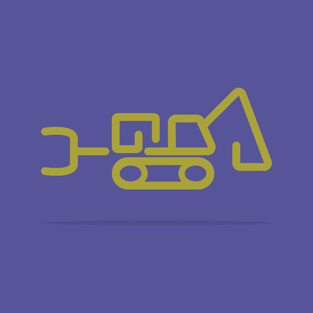 Linear tractor backhoe icon Vector
