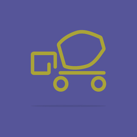 Linear cement truck icon Vector