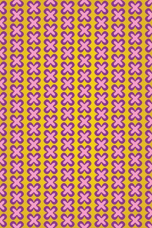 violet flower: Cute violet flower on yellow background pattern