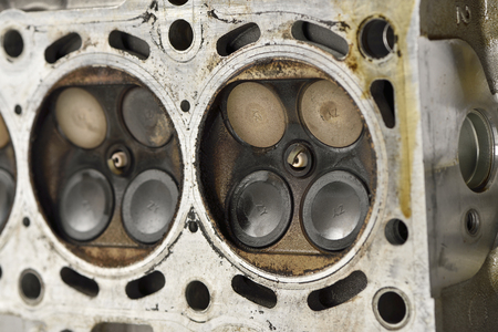 camshaft: Engine camshaft cap close up (Selective focus blur) Stock Photo