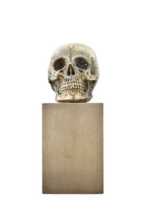 noting: Small skull on bronze stand Stock Photo