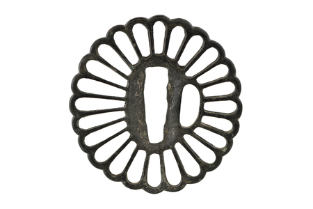 mountings: Japanese sword mountings on white background (Tsuba) Stock Photo