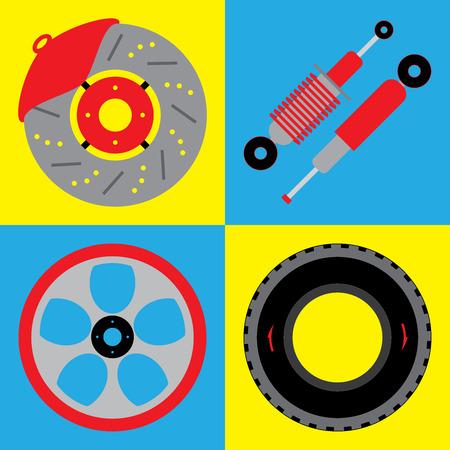 suspension: Automobile suspension set Illustration