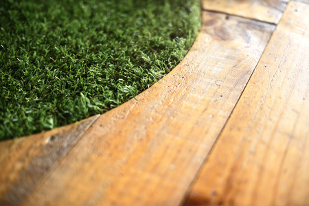 wood grass: Grass on wood table (Warm tone)