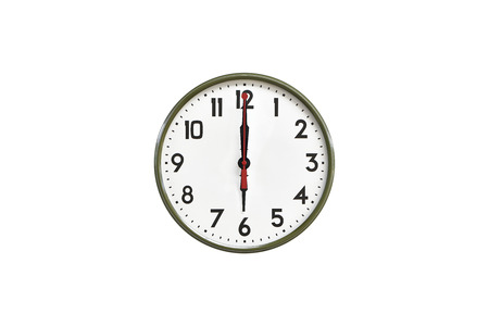 morning noon and night: Green wall clock.Six oclock