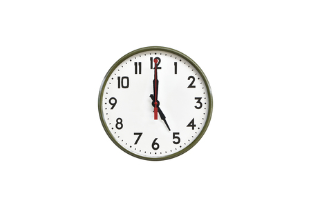 morning noon and night: Green wall clock.Five oclock