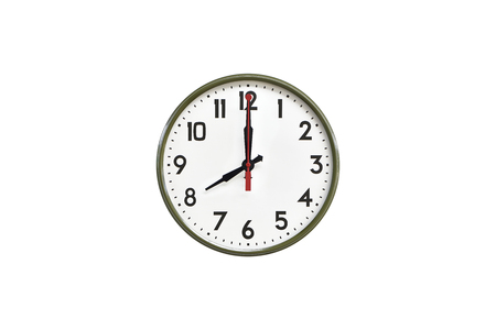 morning noon and night: Green wall clock.Nine oclock Stock Photo