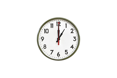 morning noon and night: Green wall clock.One oclock Stock Photo