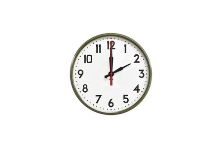morning noon and night: Green wall clock.Two oclock Stock Photo