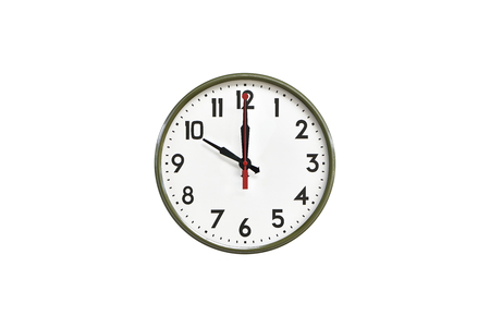 morning noon and night: Green wall clock.Ten oclock Stock Photo