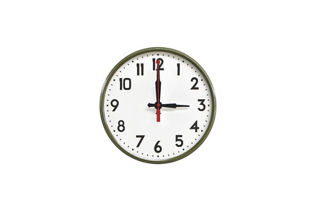 morning noon and night: Green wall clock.Three oclock