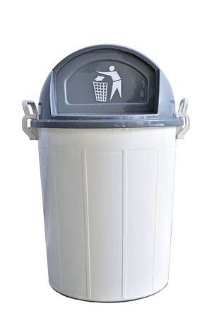 big bin: White plastic bin with grey lid Stock Photo