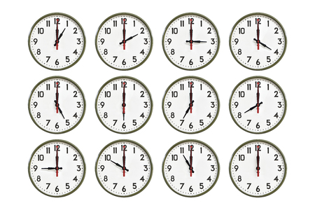 morning noon and night: Green wall clock all day Stock Photo