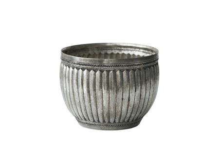 Antique silver bowl on white background Stock Photo