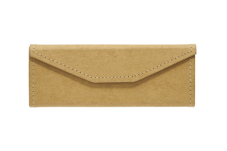 Brown sunglasses slim case leatherette on white background (Front side)