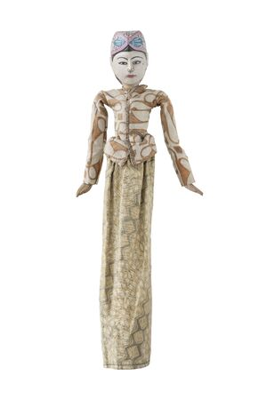 Antique wood puppet on white background