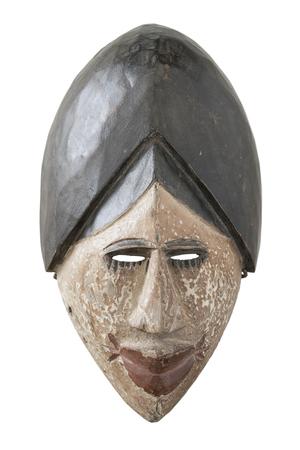 Antique wood mask on white background Stock Photo
