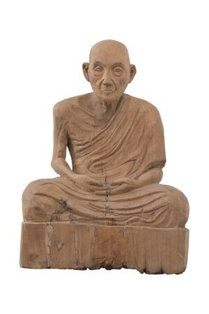 Antique wood monk on white background