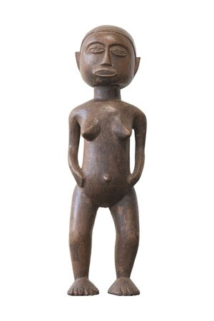 Antique wood doll on white background Stock Photo