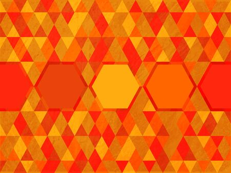 Octagon on triangle hot color background