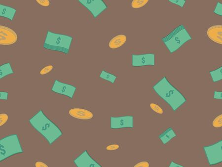 Cash and coin seamless pattern