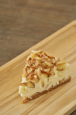 Cheesecake with almond sliced topping