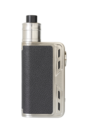 Stainless with leather E-cig on white background