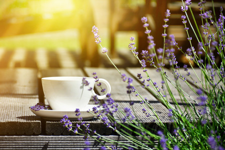 Cup of tea served on natural wood table in the provence style garden terrace surrounded by lavender Stock Photo