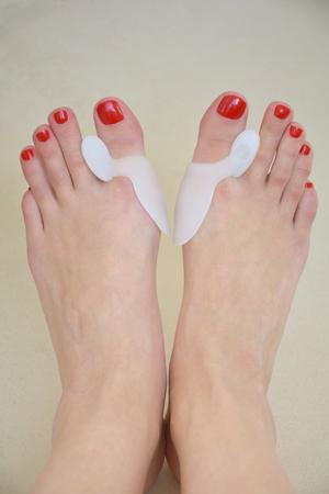 Woman feet with orthopedic pads