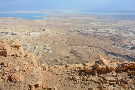Panoramic view of the Dead Sea from Masada fortress ruins, Israel