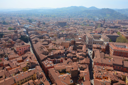 Panoramic view of Bologna city from tower Asinelli, Emilia-Romagna, Italy Standard-Bild