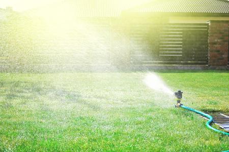 Rociador automático rocía agua sobre la hierba verde
